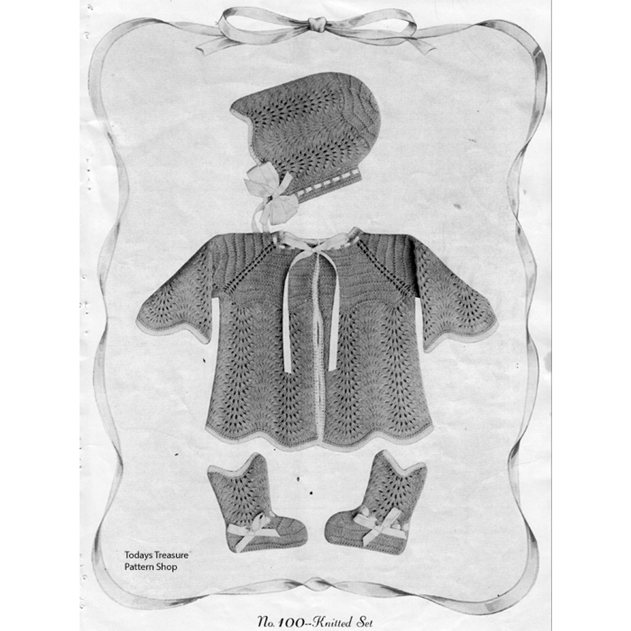 Feather Stitch Knitted Baby Set Pattern