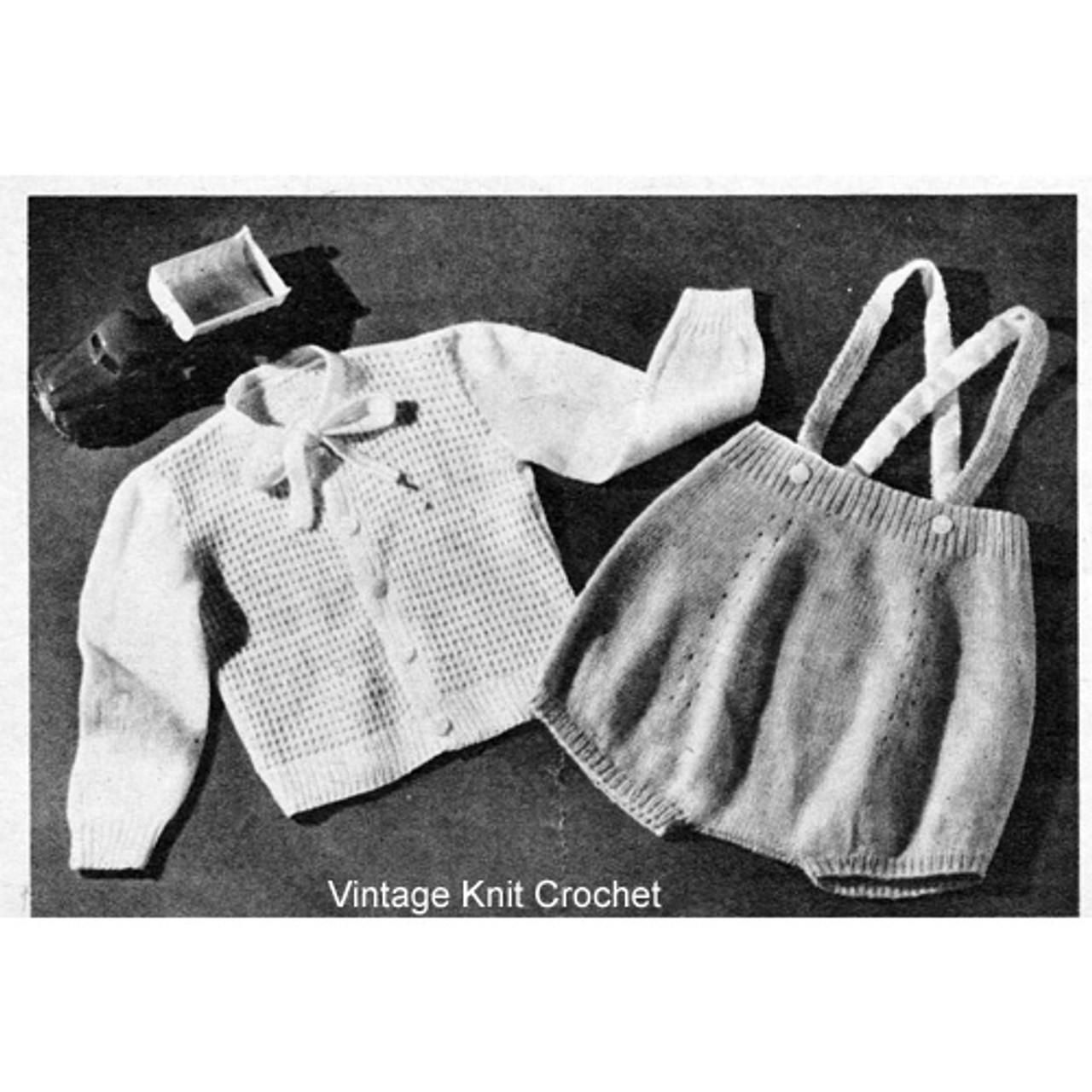 Vintage Baby Knitted Romper Pattern Set, 1950s