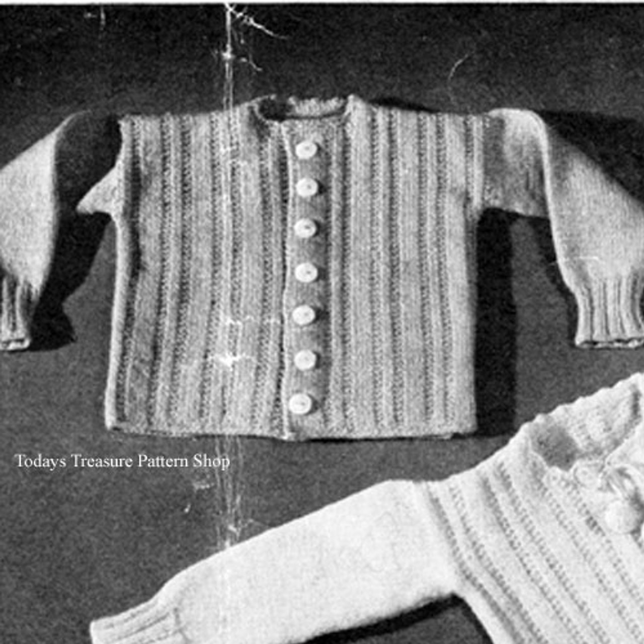 Knitted baby twin set pattern, vintage 1940s