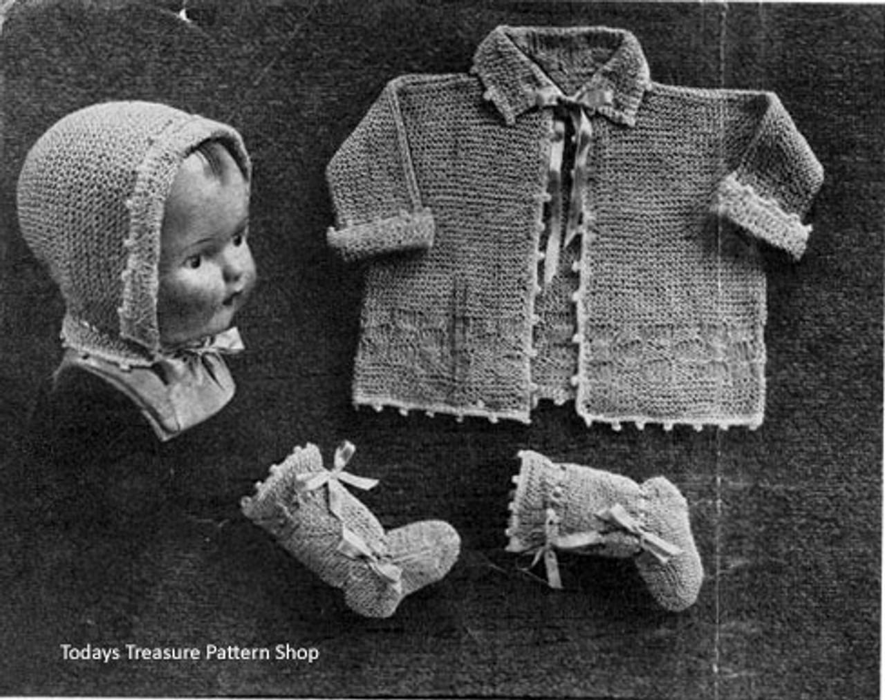Vintage American Thread Baby Set Knitting Pattern
