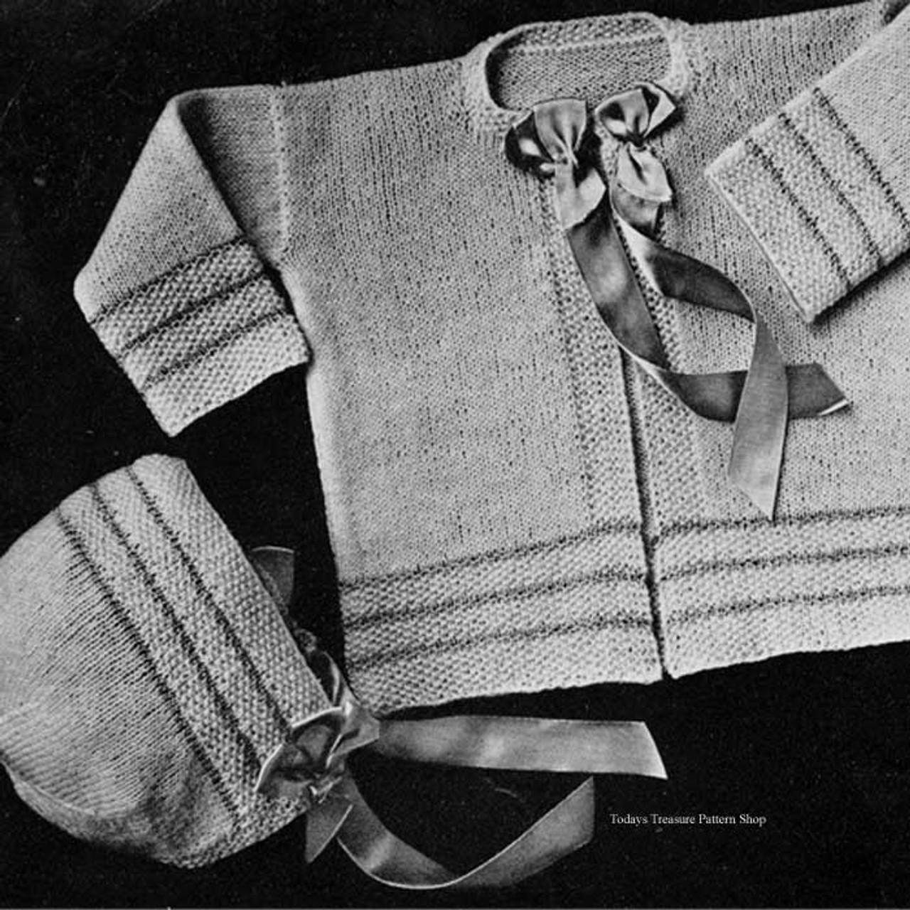 Striped Border Knit Baby Set Pattern No 6710