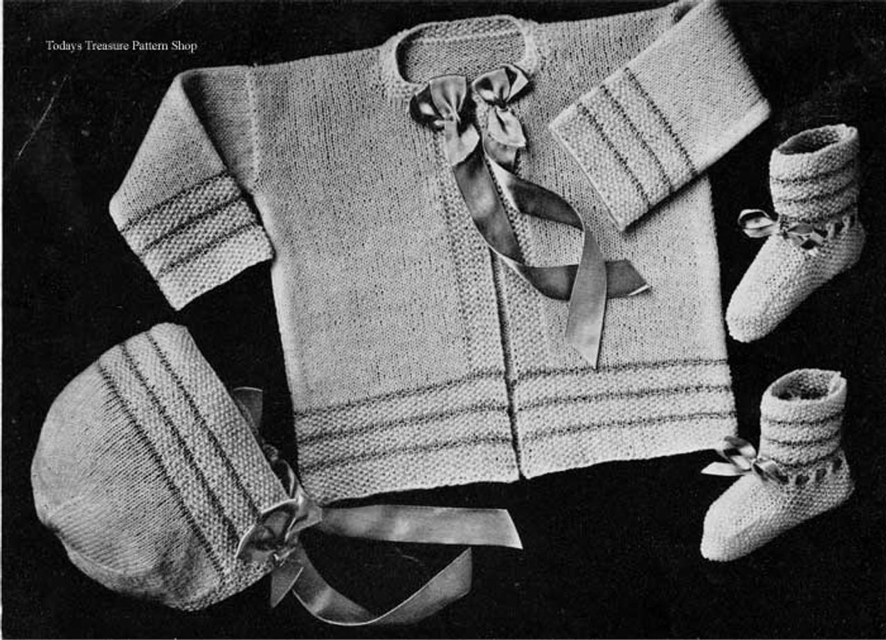 Vintage Knit Baby Set, Three Pieces