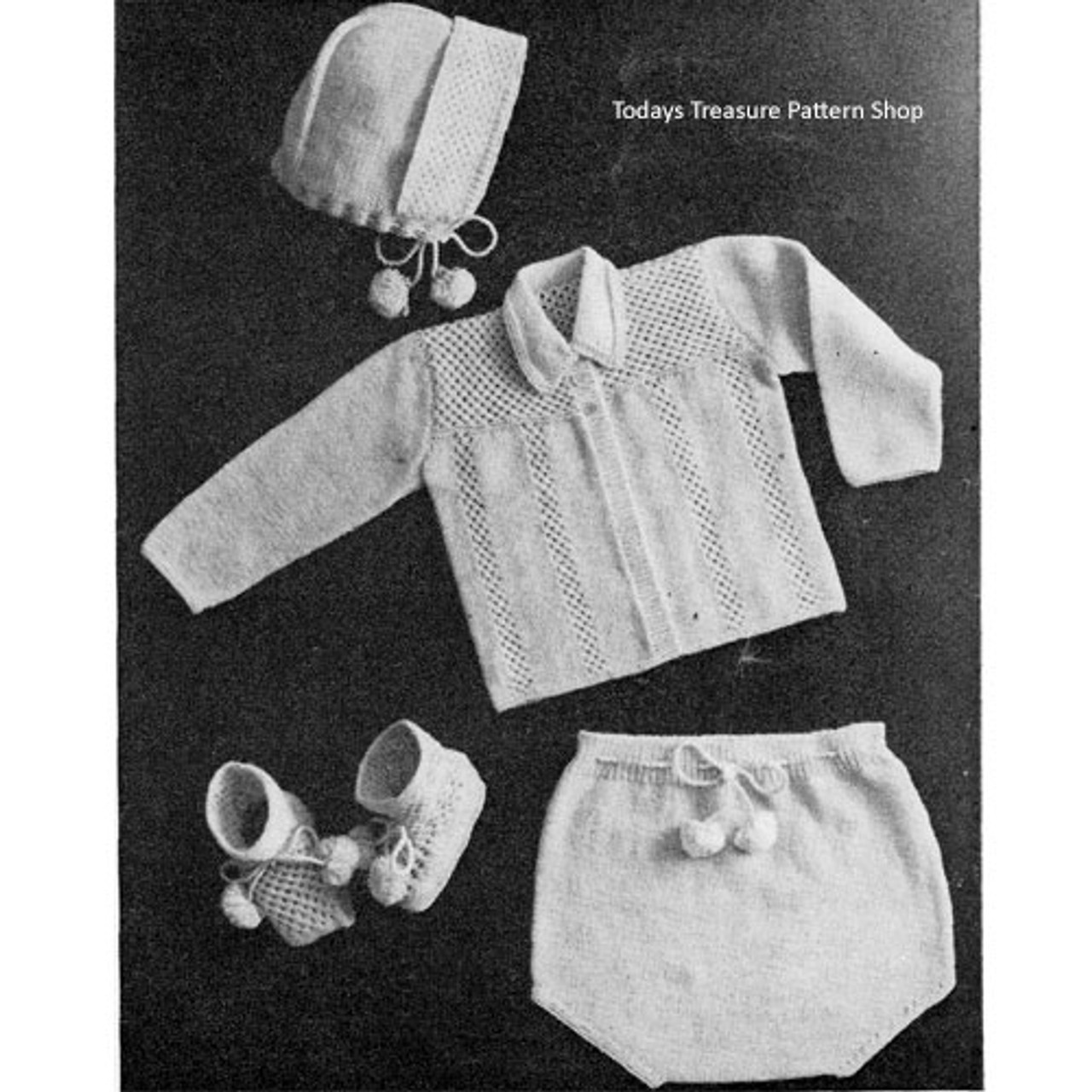 Knitted Four Piece Baby Set Pattern