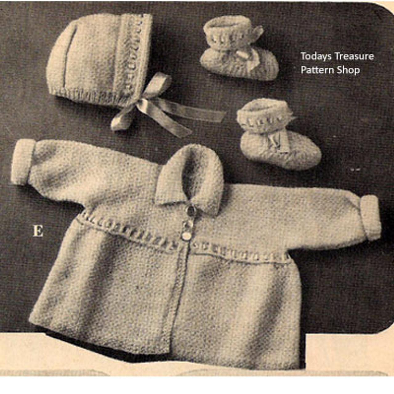 Vintage Baby Set Knitting Pattern Jacket Bonnet Booties