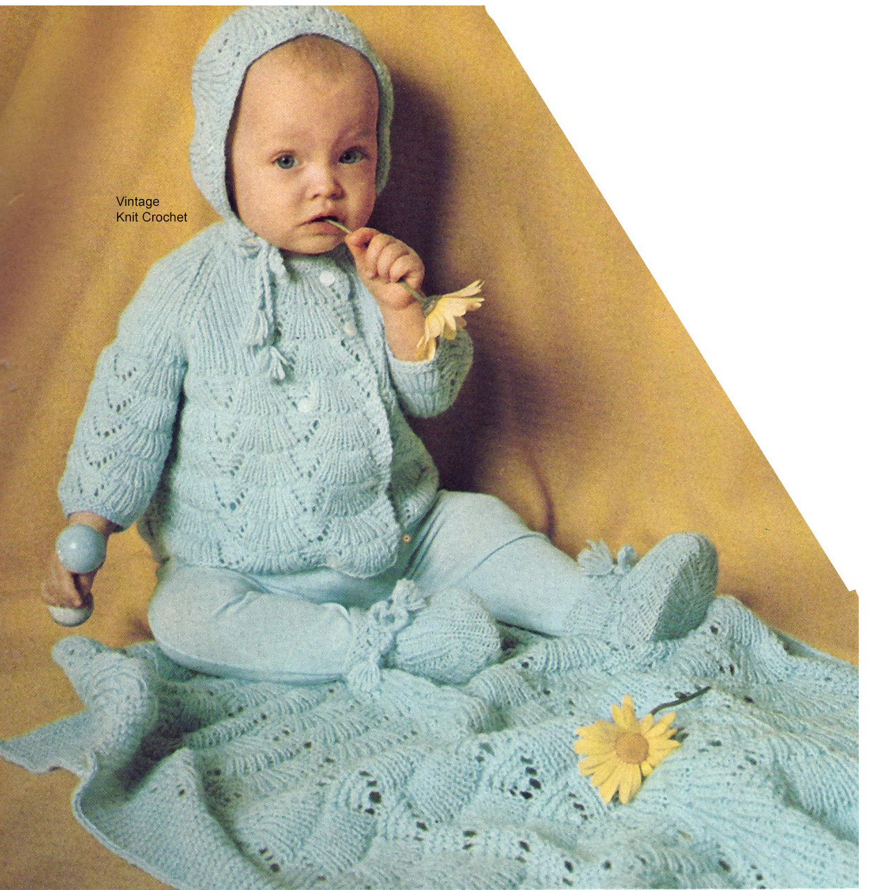 Baby Boy Knitted set with jacket, cap, leggings booties
