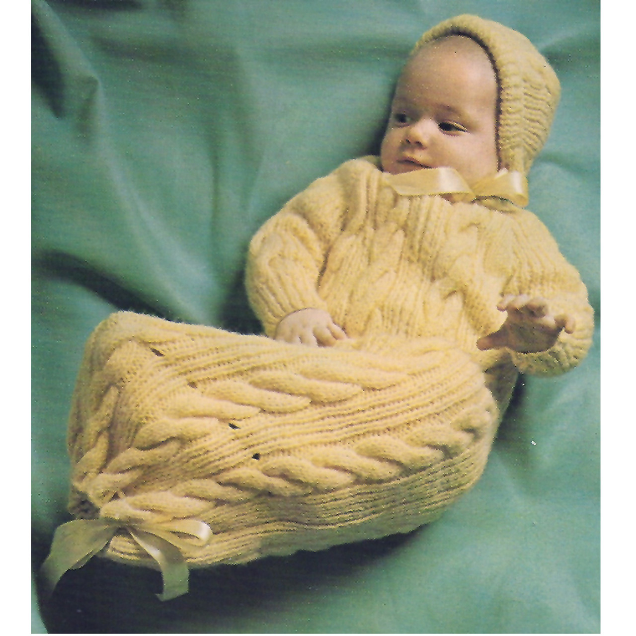 Vintage Knitted Baby Sacque in Cable Stitch