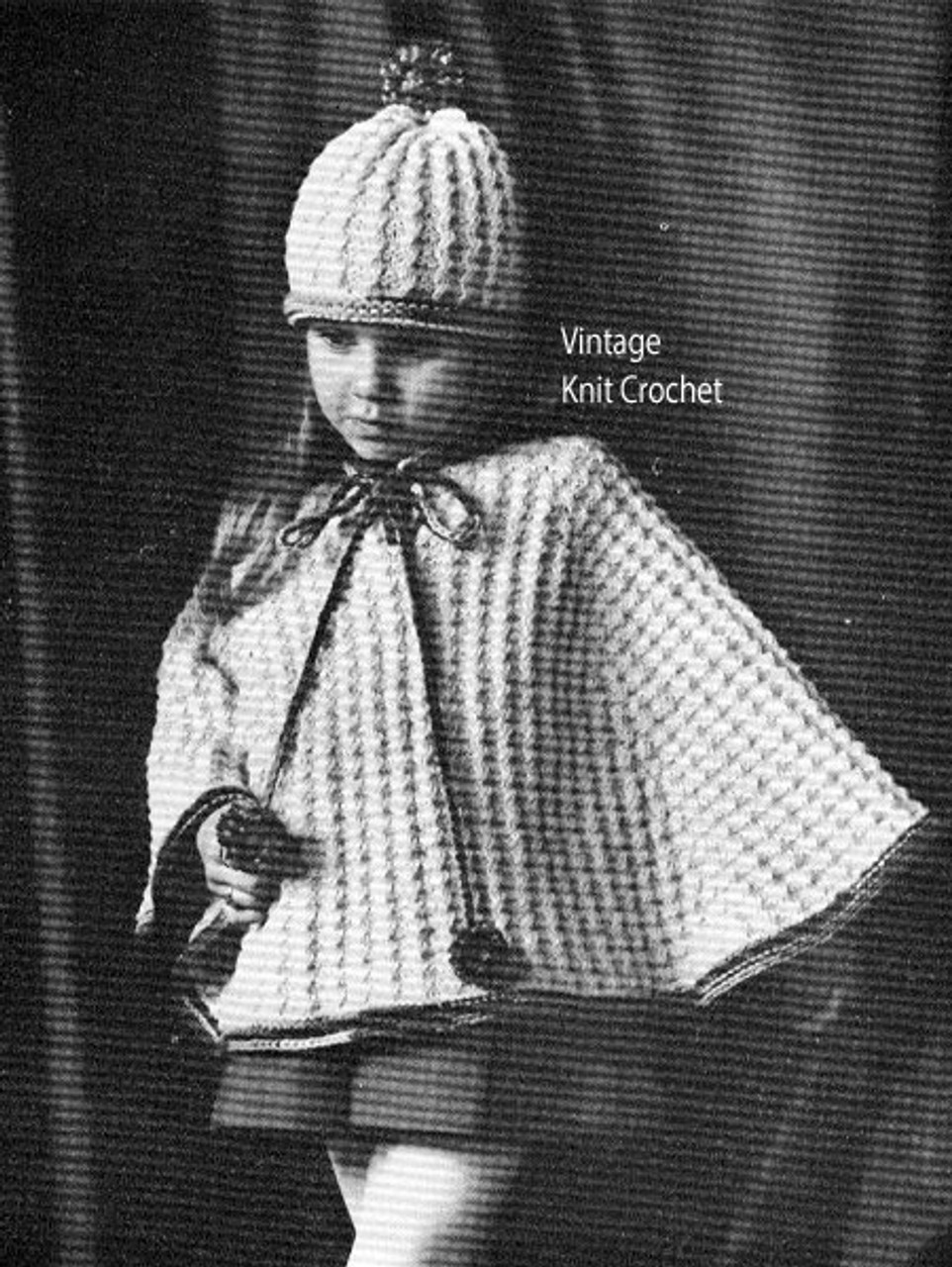 Girls Knitted Poncho Pattern with hat
