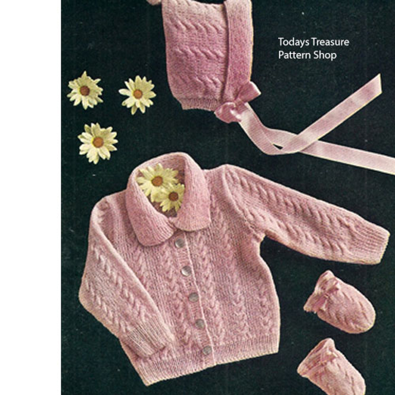 Cable Baby Set Knitting Pattern, Jacket Cap Mittens
