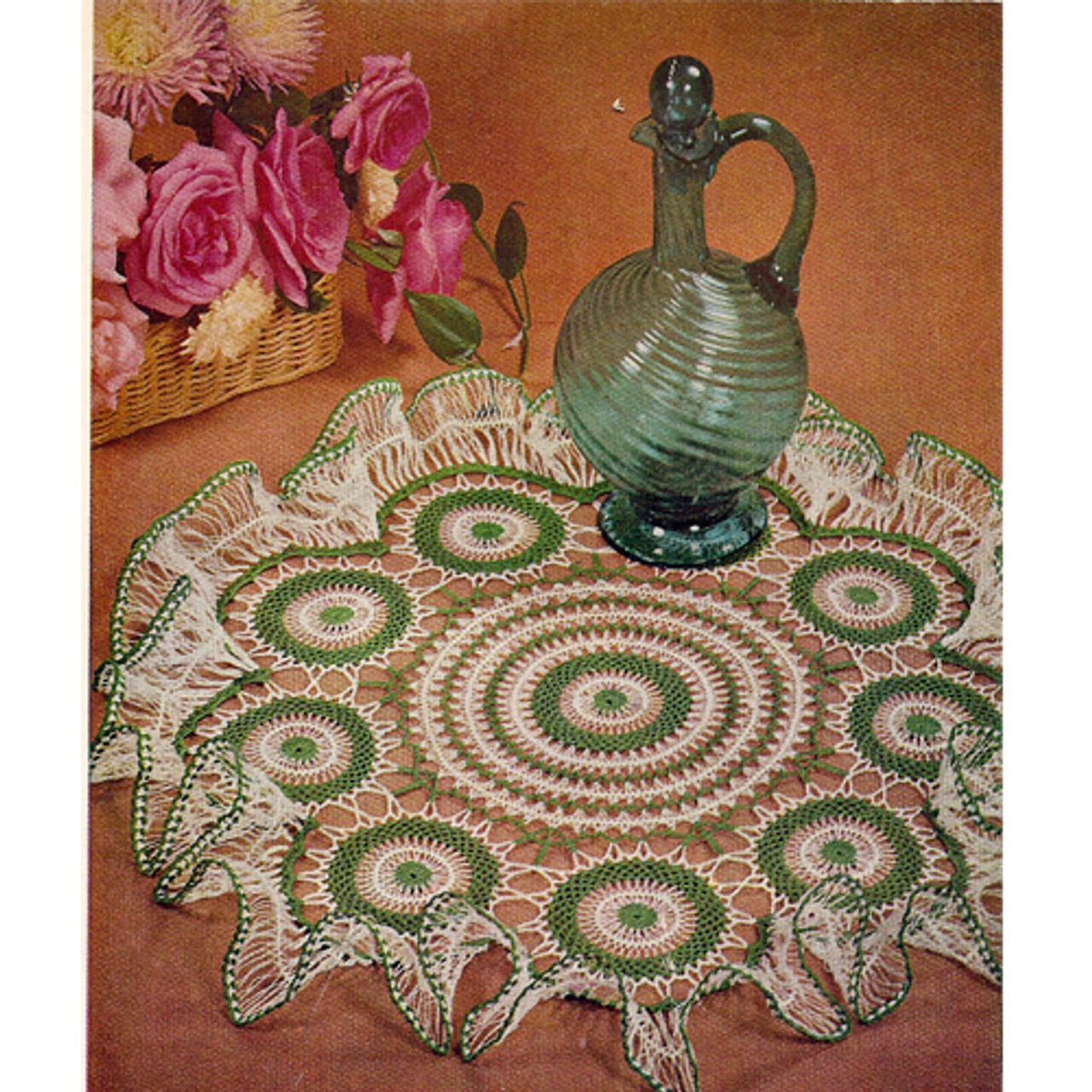 Large Hairpin Lace Ruffled Doily Pattern