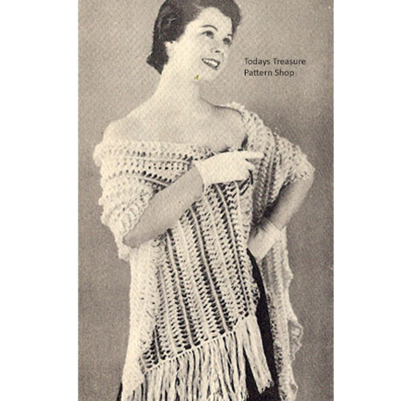 Hairpin Lace Striped Stole Pattern, Vintage 1950s
