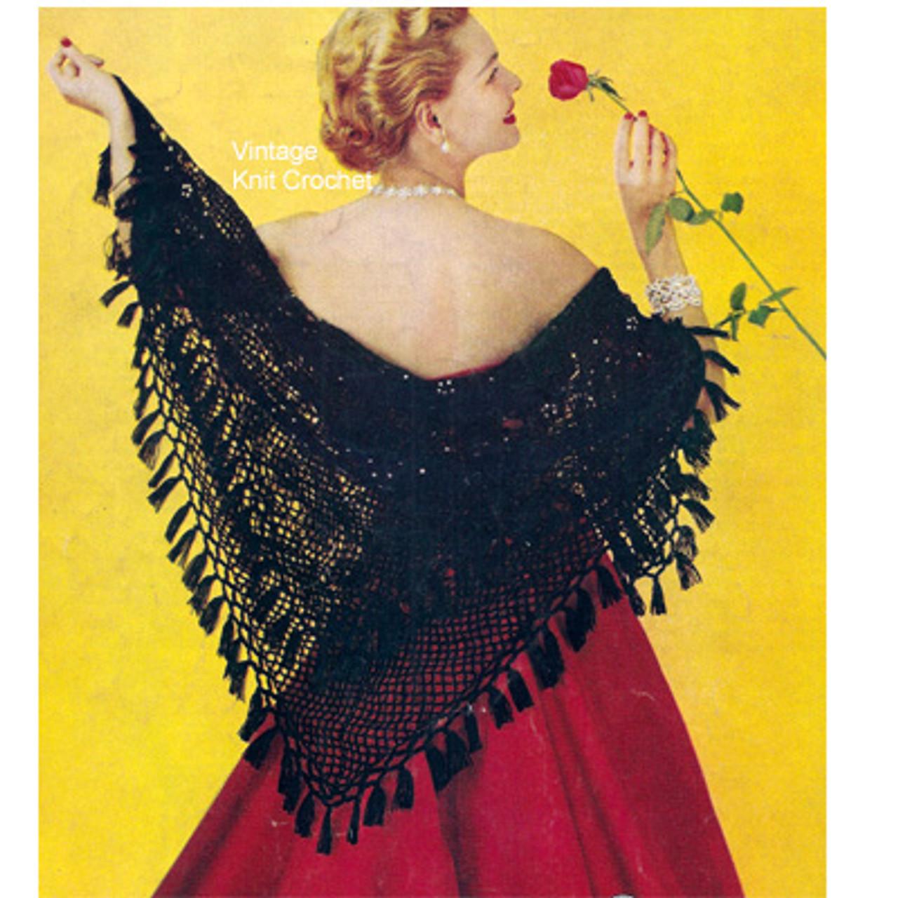 Hairpin Lace Crochet Stole Pattern, Triangle