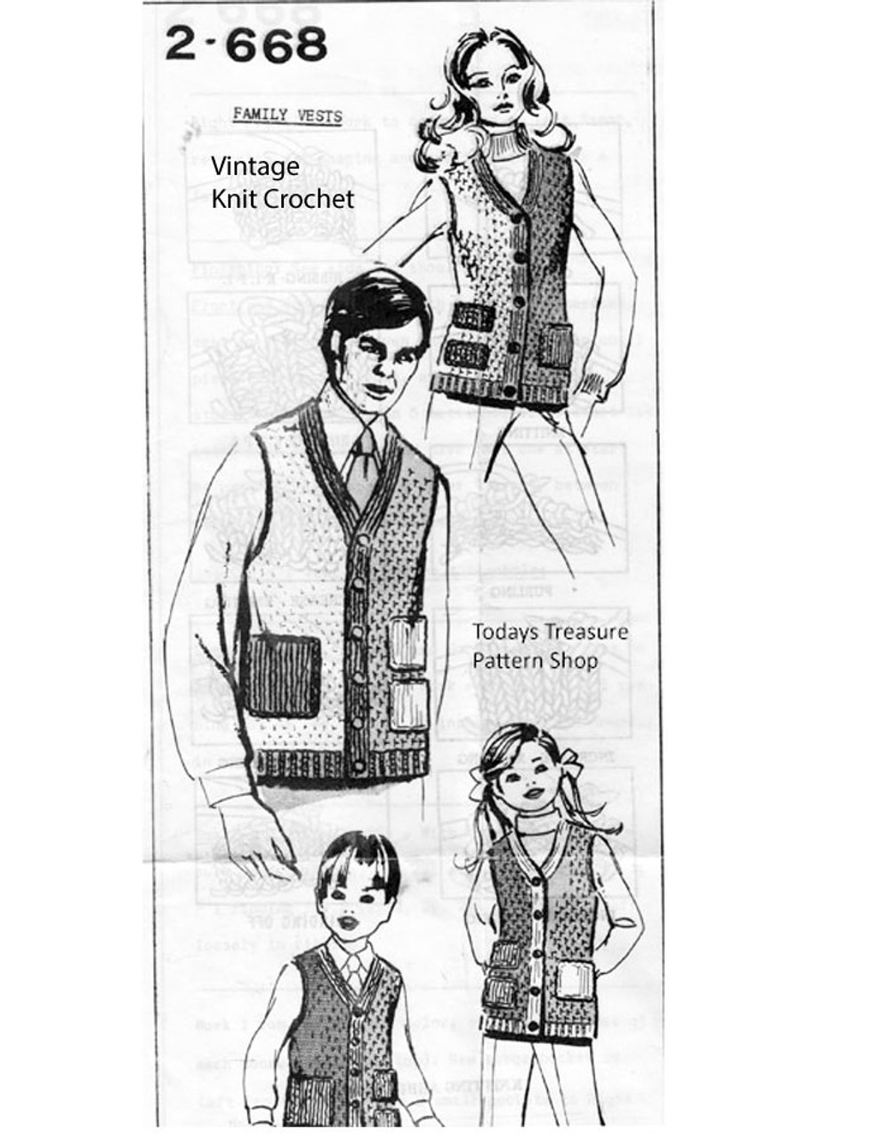 Crochet His Hers Vests Patterns, Mail Order 2668