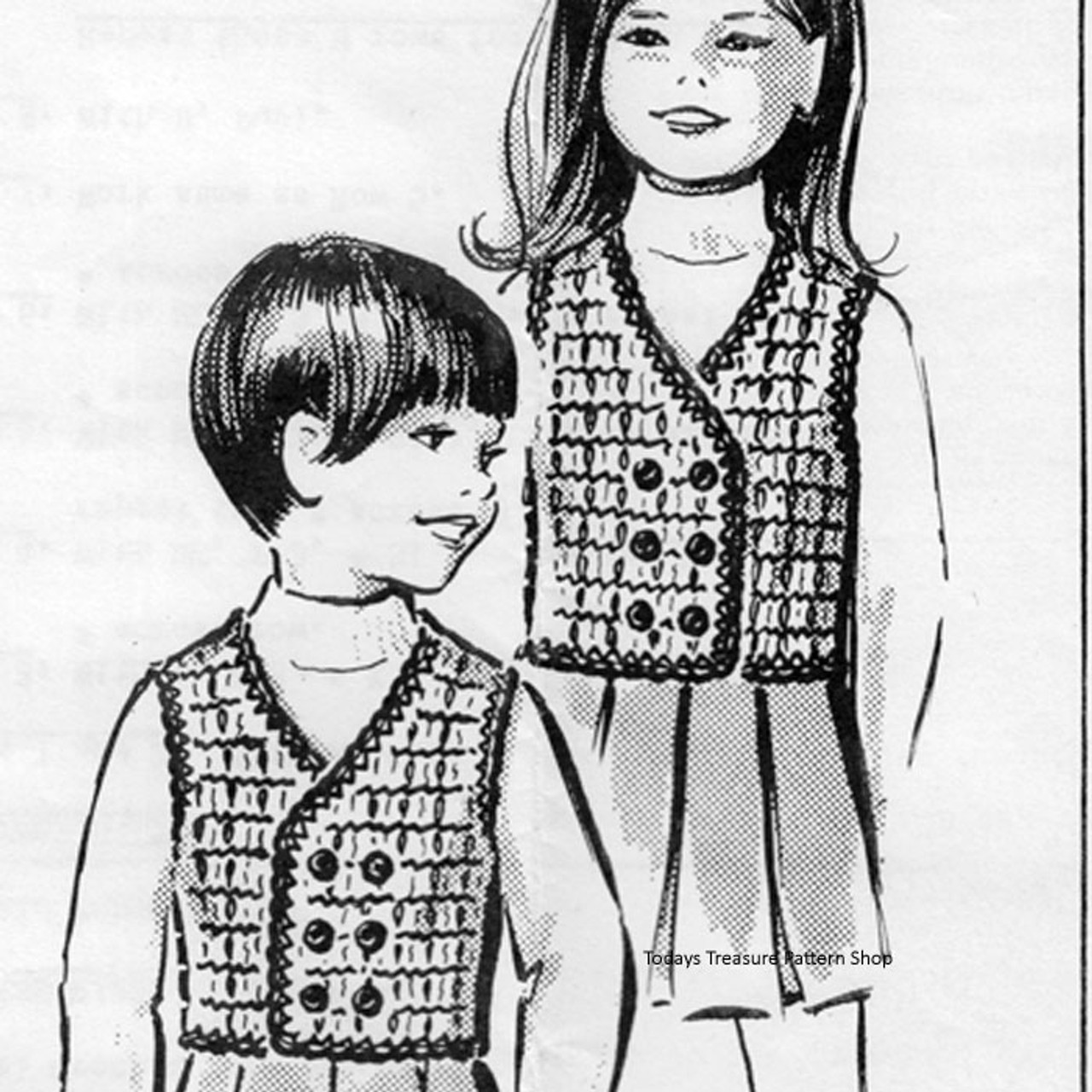 Anne Cabots 5535, Childs Knitted Vests in Plaid Stitch