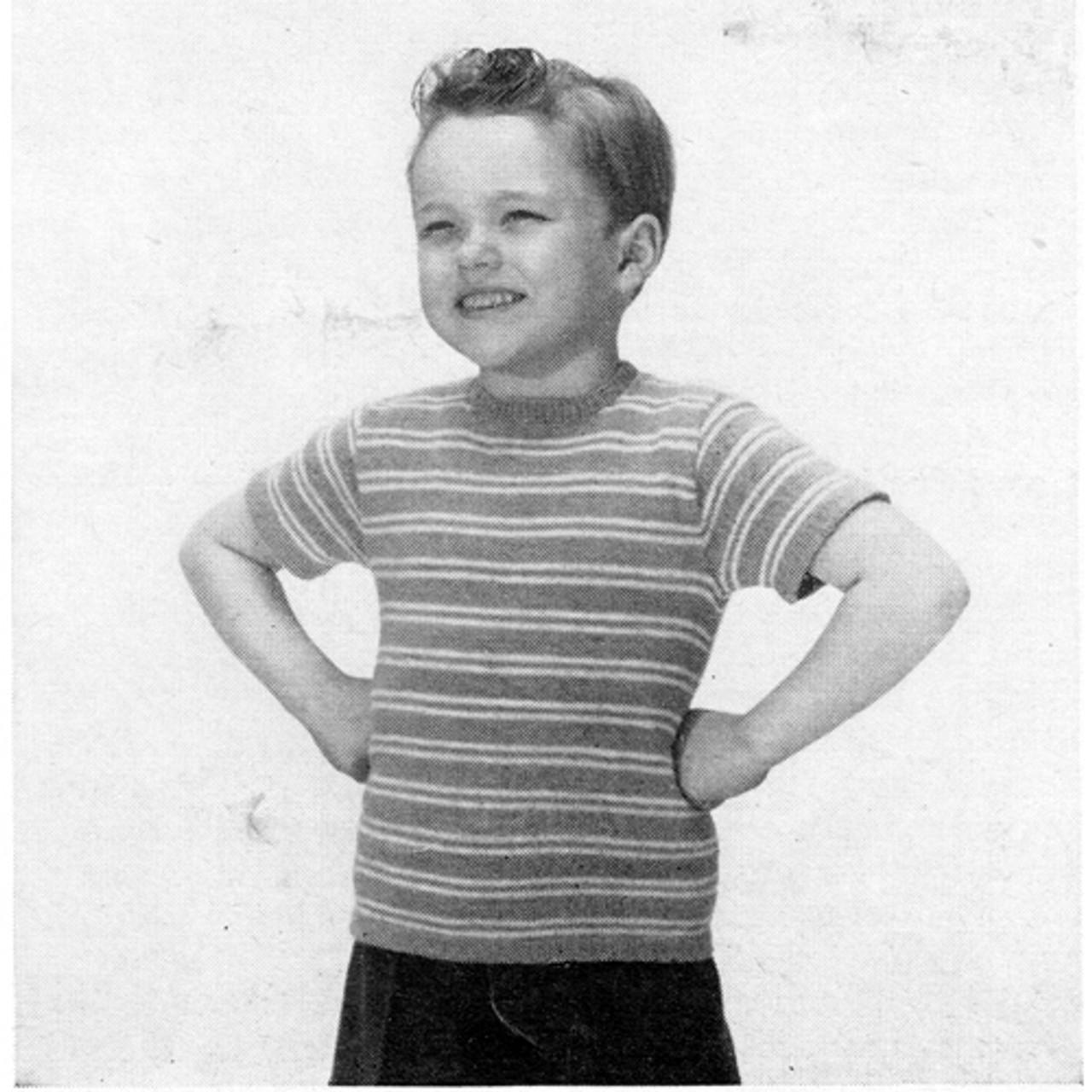 Kids Knitted Striped T-Shirt Pattern
