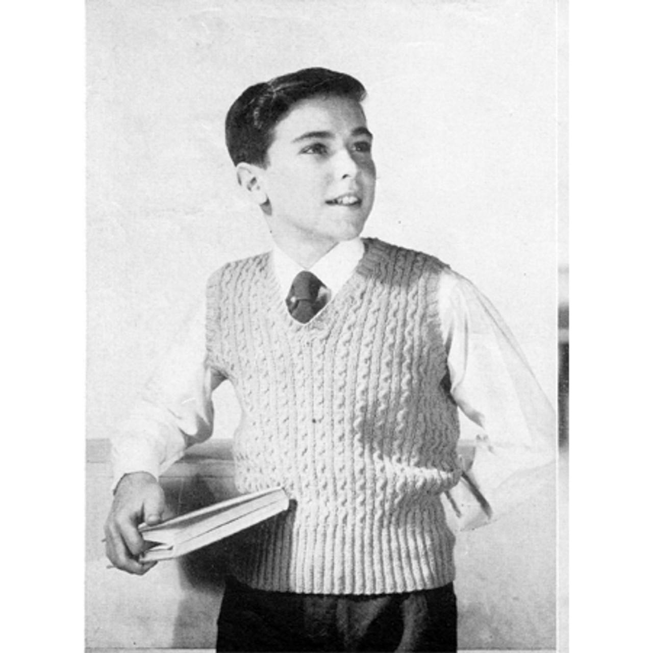 Boys Vintage Pullover Vest Pattern