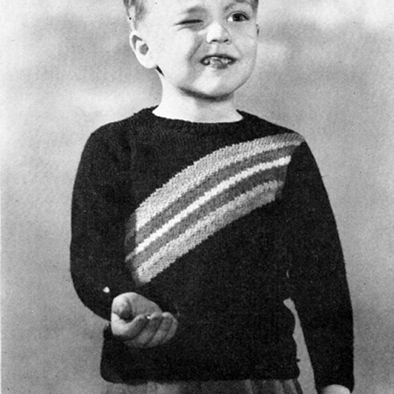 Vintaged Striped Boys Knitted Pullover Pattern
