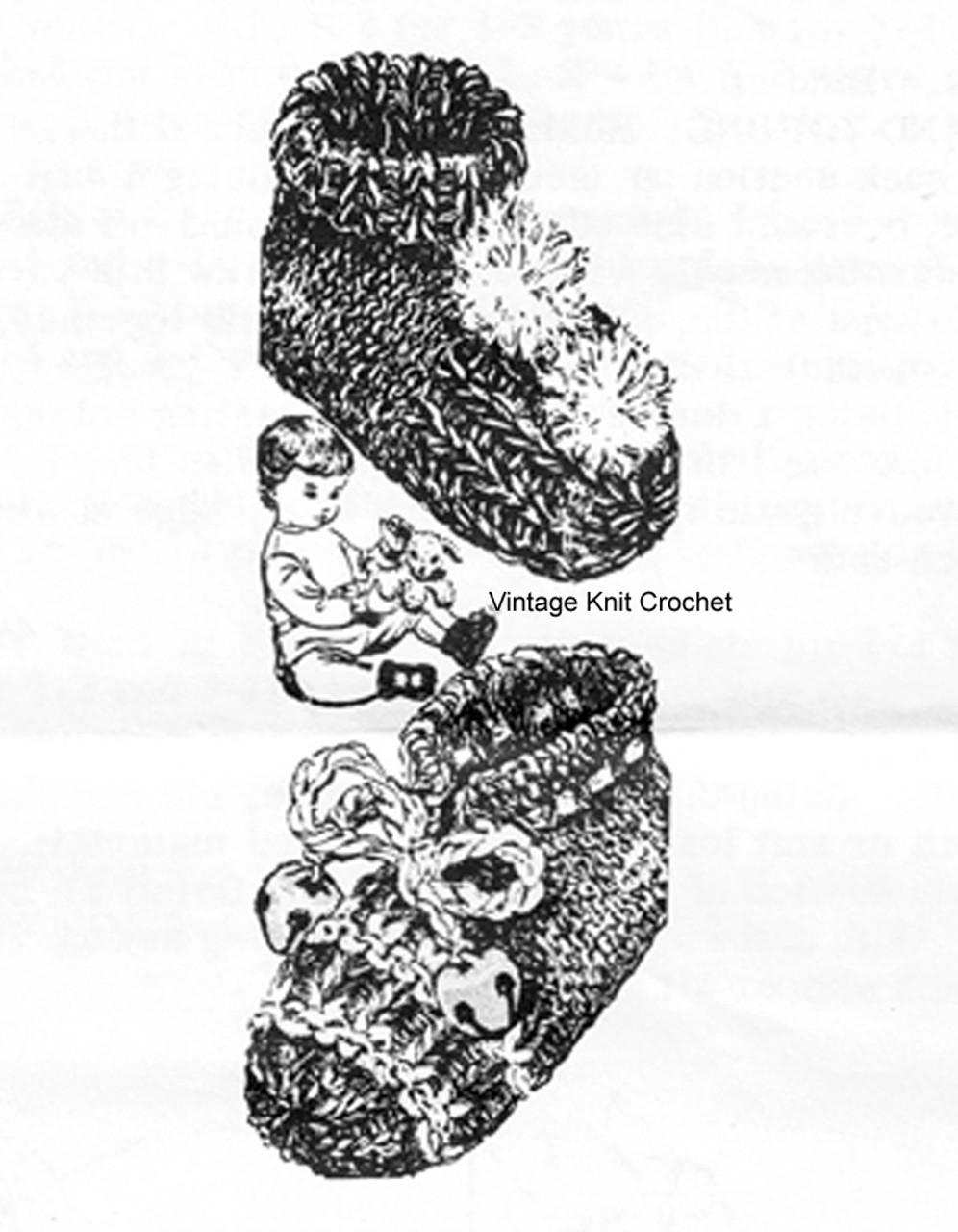 Knitted Baby Boots Pattern, Alice Brooks 7492