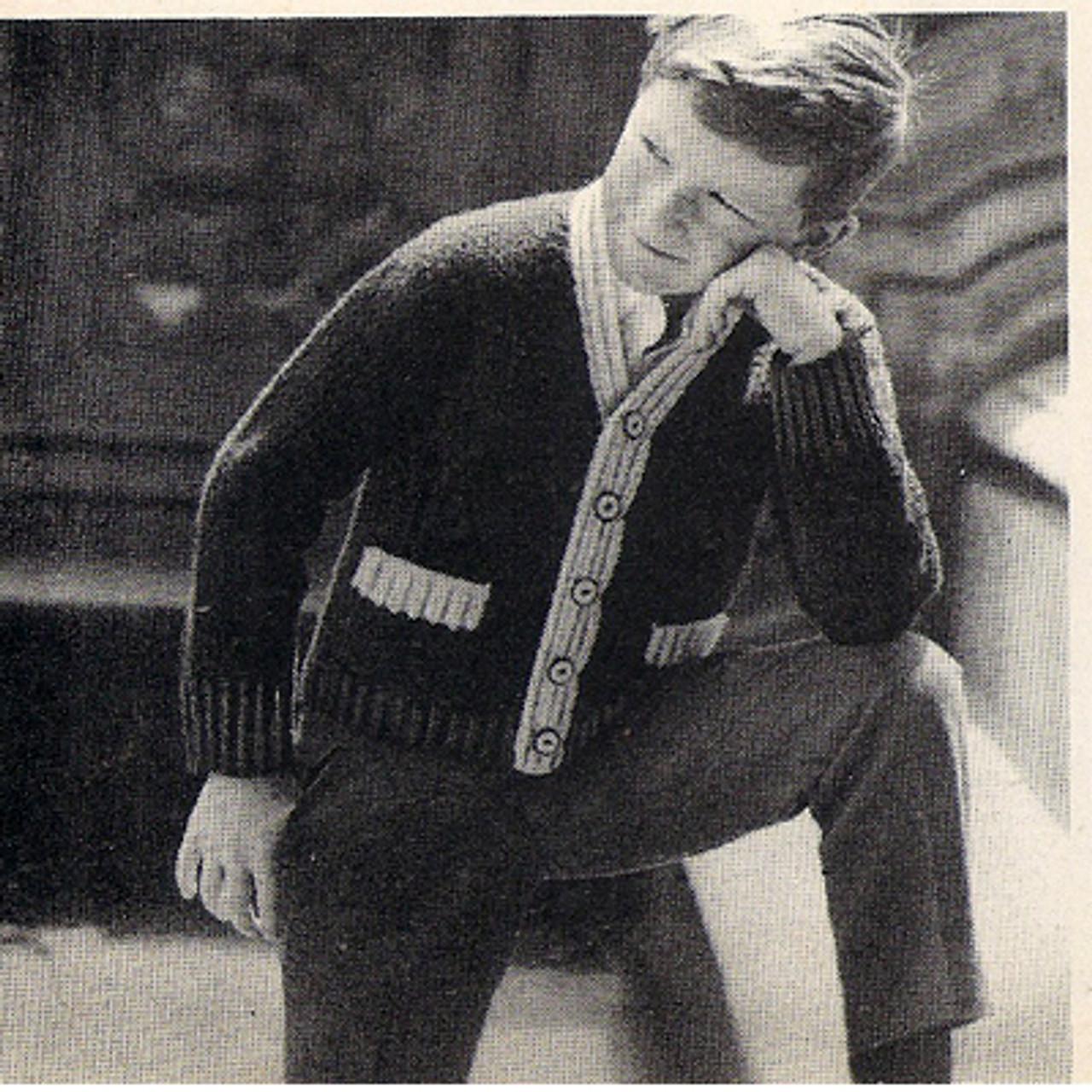 Boys Varsity Vintage Knit Cardigan Pattern