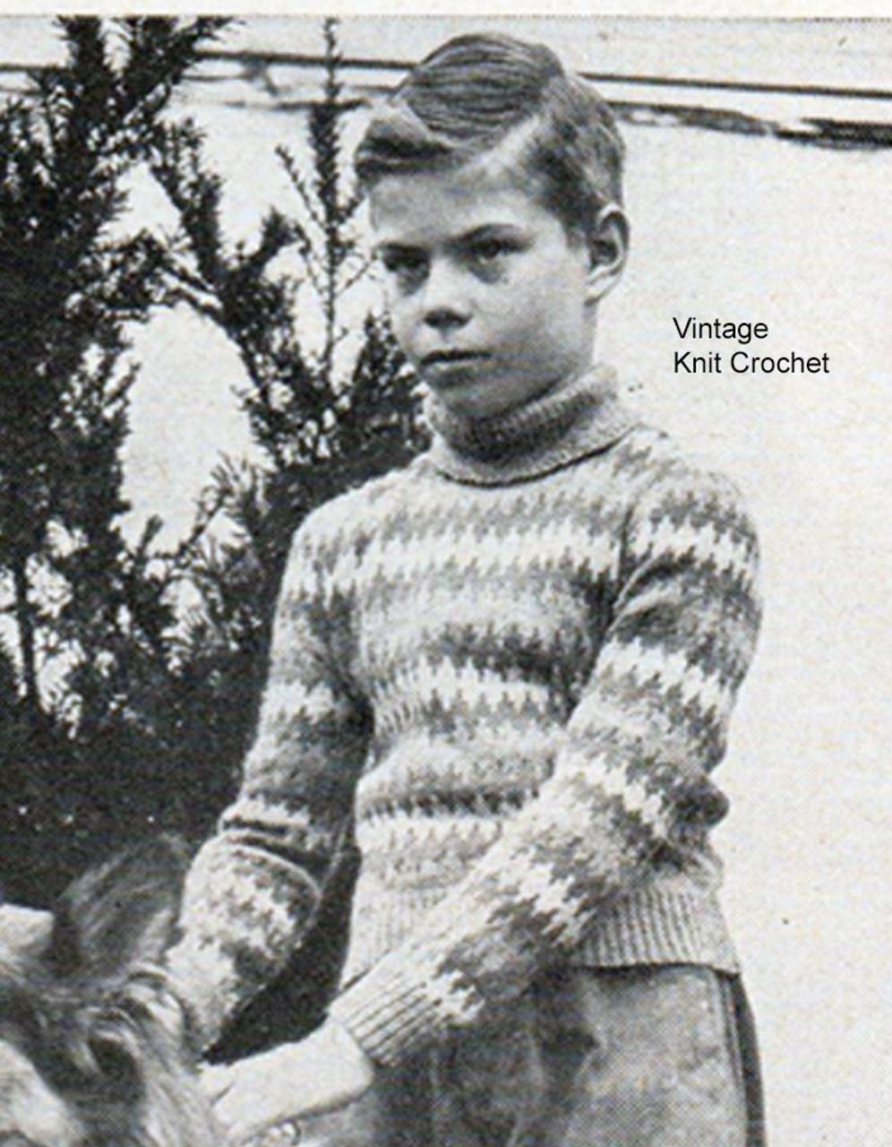 Boys Fair Isle Knitted Sweater Pattern, Vintage 1947