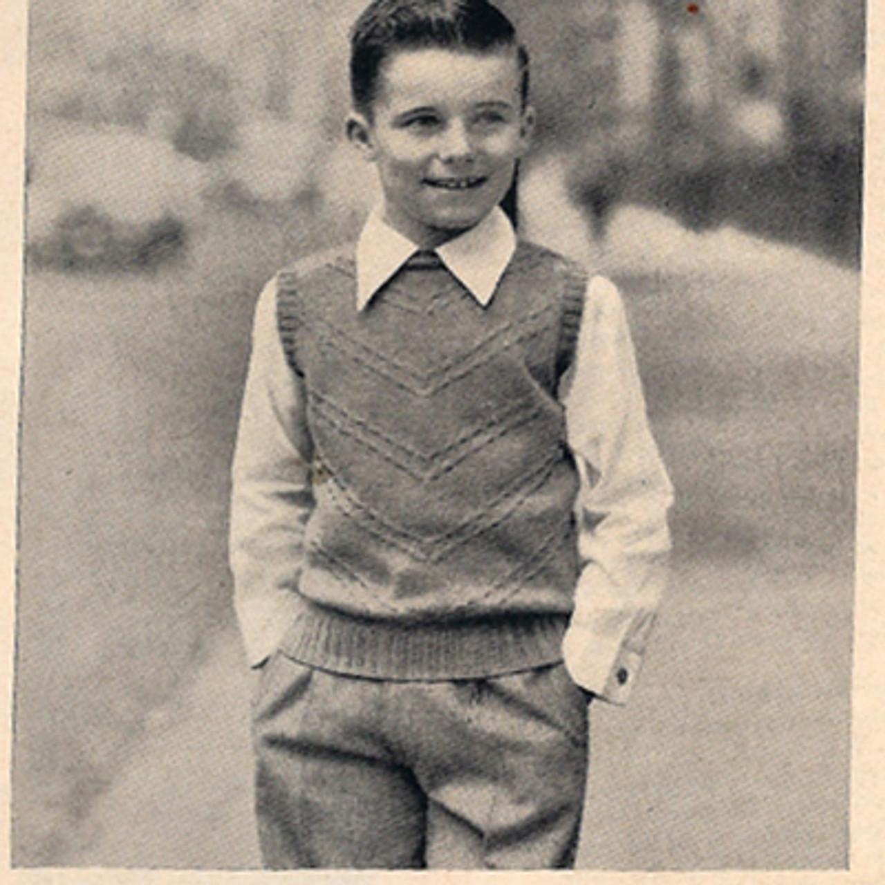 Vintage Boys Sleeveless Pullover Knit Pattern