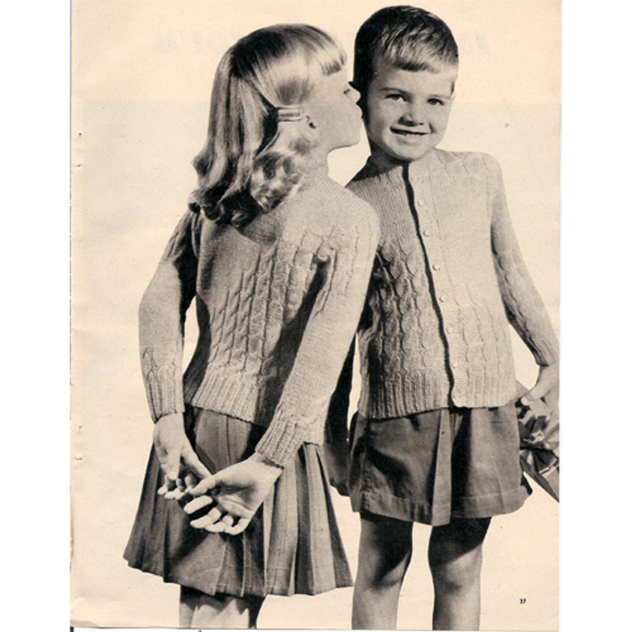 Boys Knitted Cardigan Pattern, Vintage 1950s