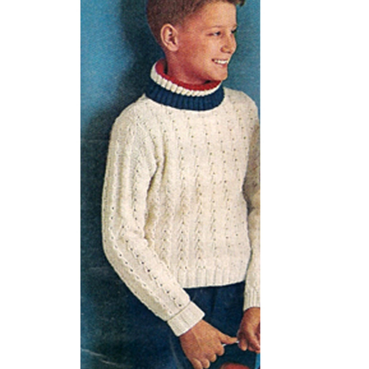 Boys Vintage Knitted Turtleneck Pullover in rib stitch