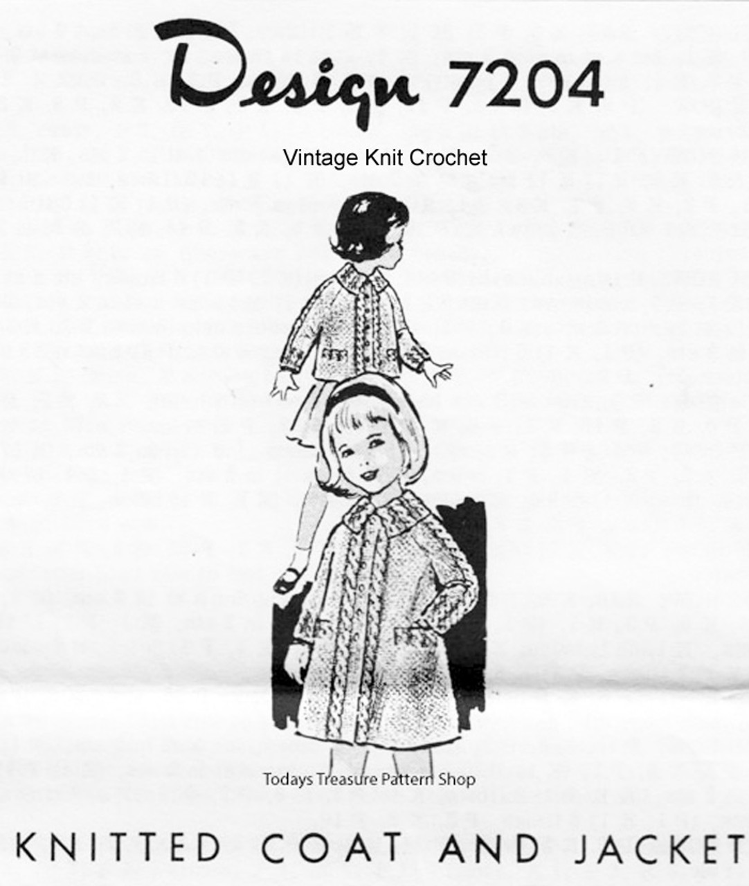 Girls Knitted Coat Pattern, Cables, Mail Order Design 7204