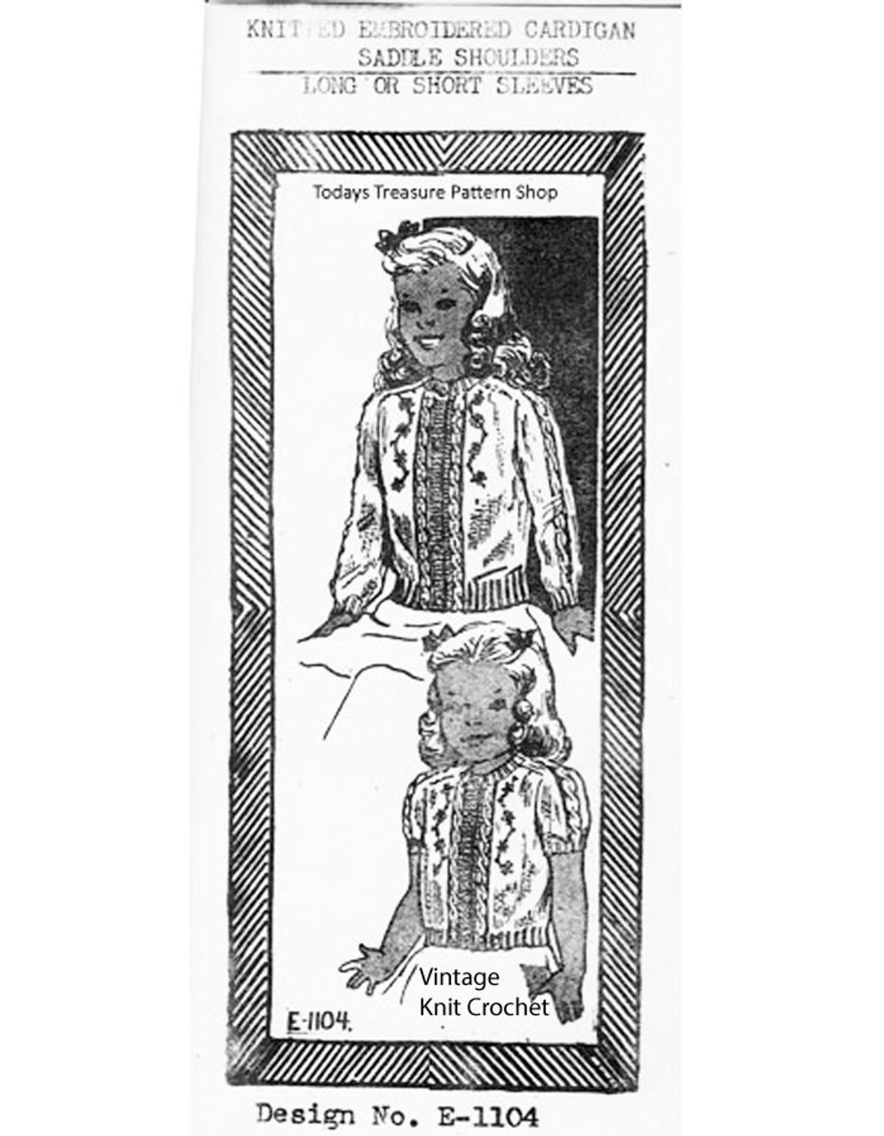 Girls Saddle Cardigan Jacket Knitting Pattern No E-1104