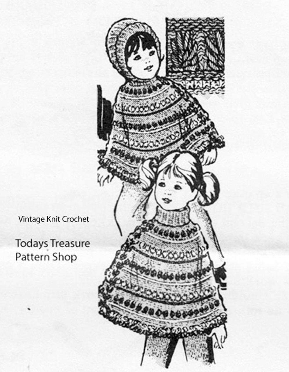 Laura Wheeler Childs Knitted Poncho Pattern No 943