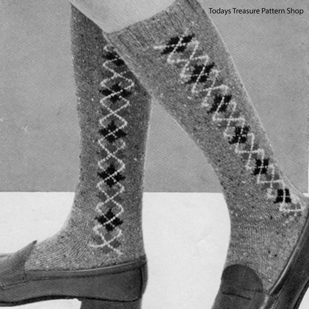 Vintage Knit Argyle Socks Pattern for Girls