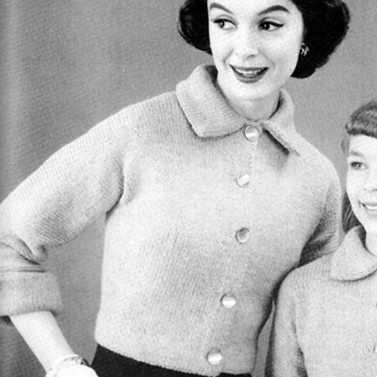 Womans Knitted Cardigan Pattern, Vintage 1950s