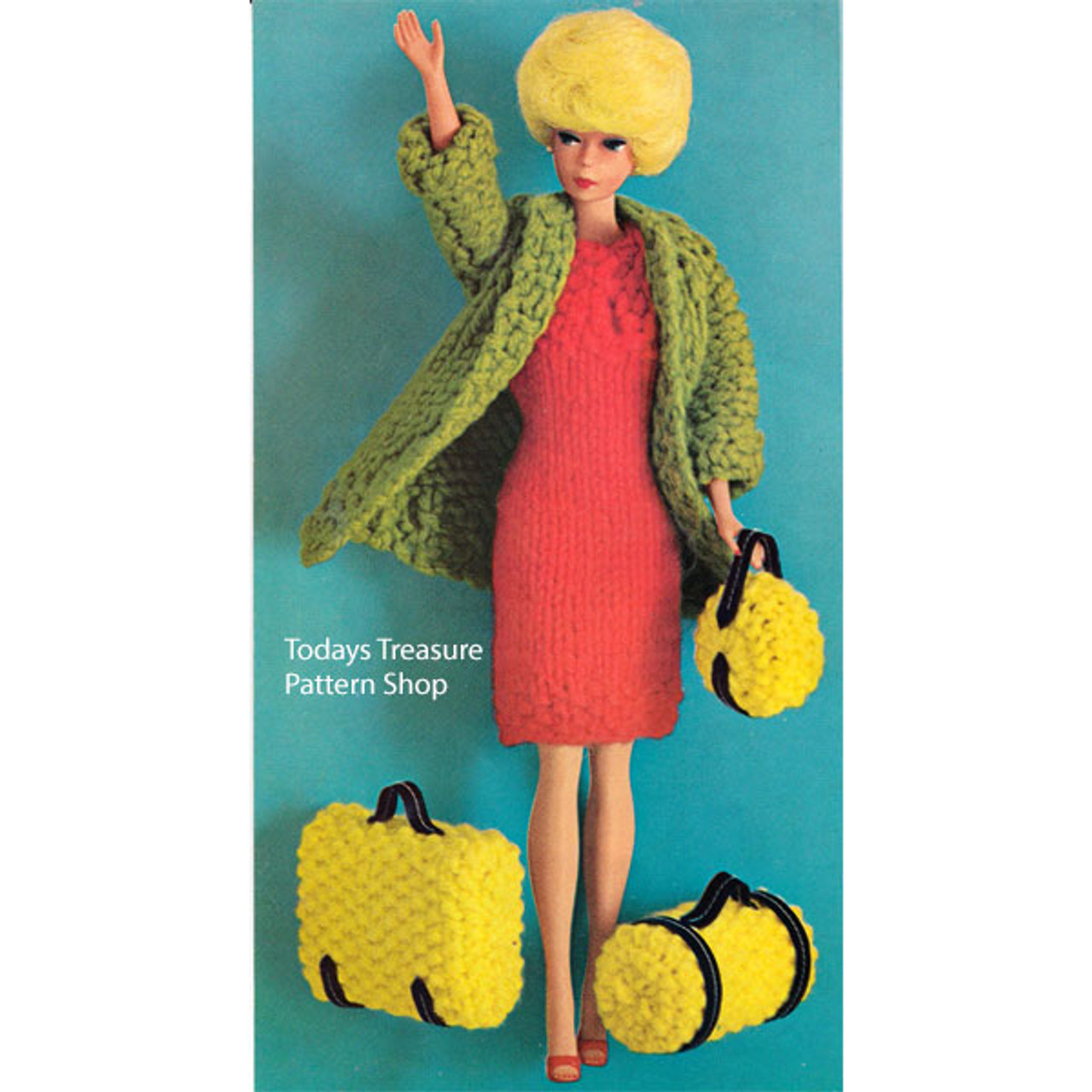 Barbie Knitted Dress, Coat & Luggage Pattern