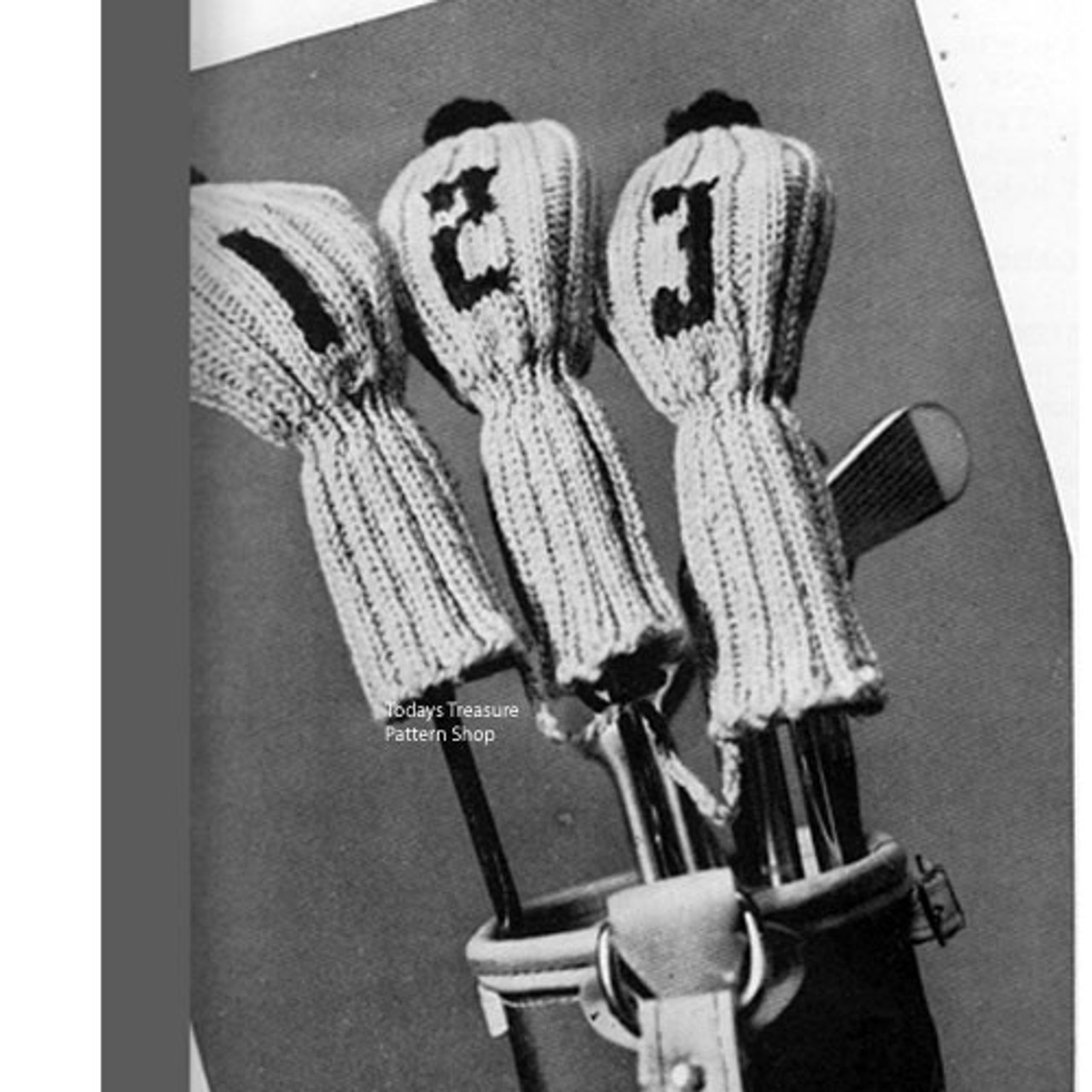 Knitting Pattern Golf Club Mitts Covers Vintage 1950s