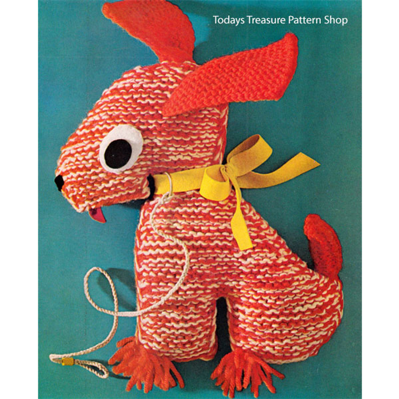 Knitting Pattern Stuffed Dog Sitting