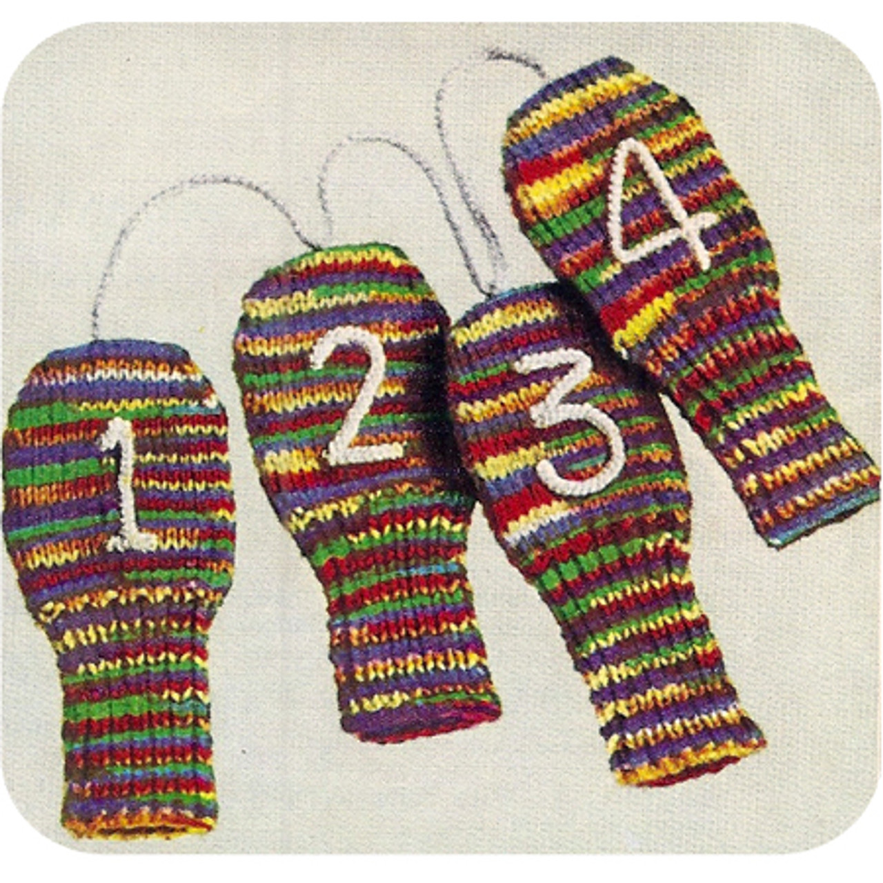 Colorful Golf Mitts Knitting pattern, Vintage 1950s