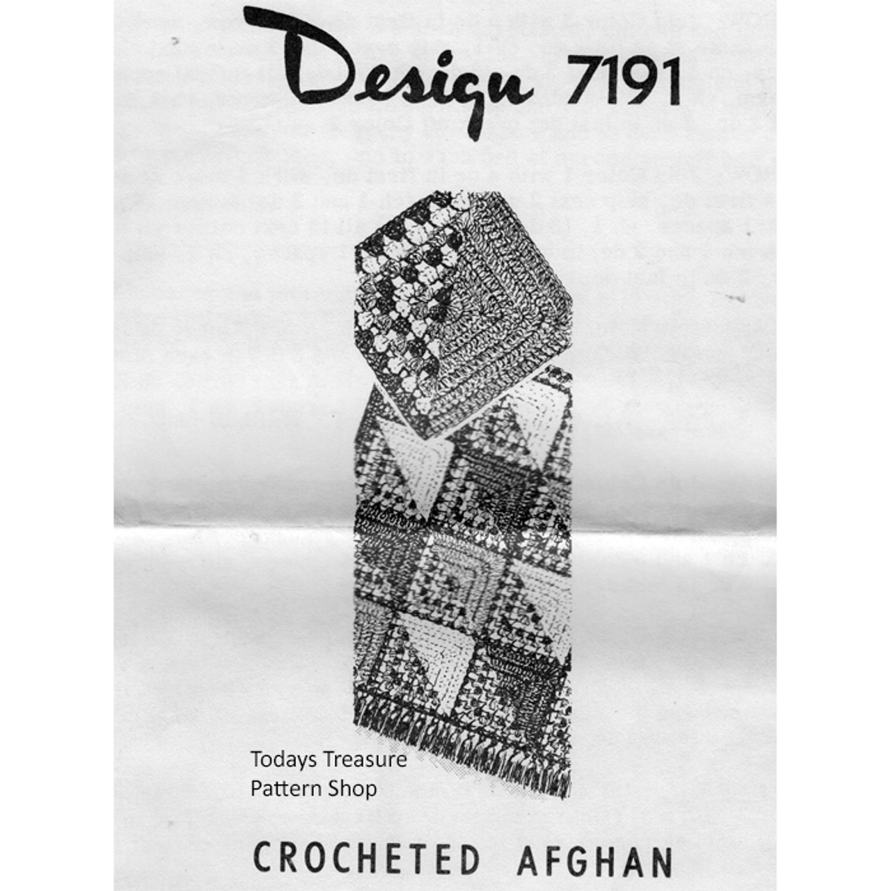 Mail Order Crochet Afghan 7919, Colorful Blocks