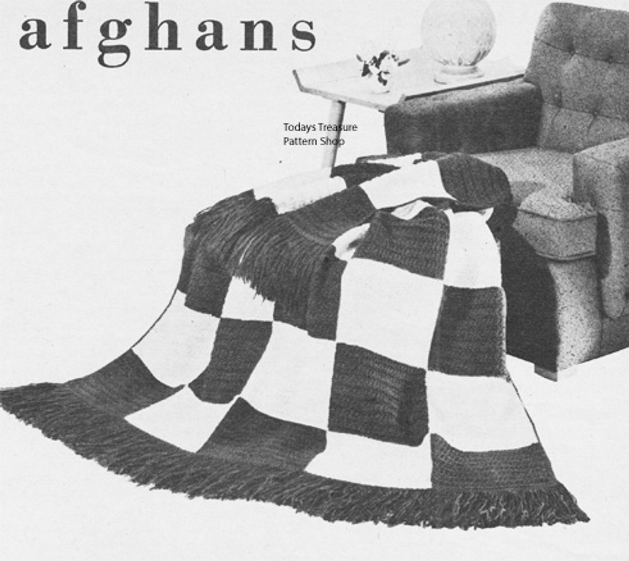 Checkerboard Crochet Afghan Pattern, Large Block