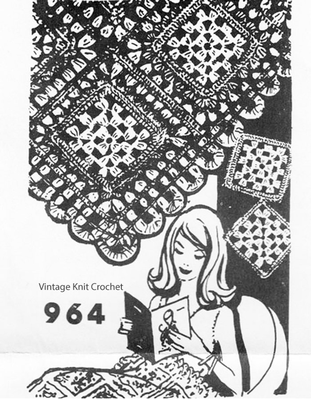Granny Square Afghan Pattern, Mail Order 964