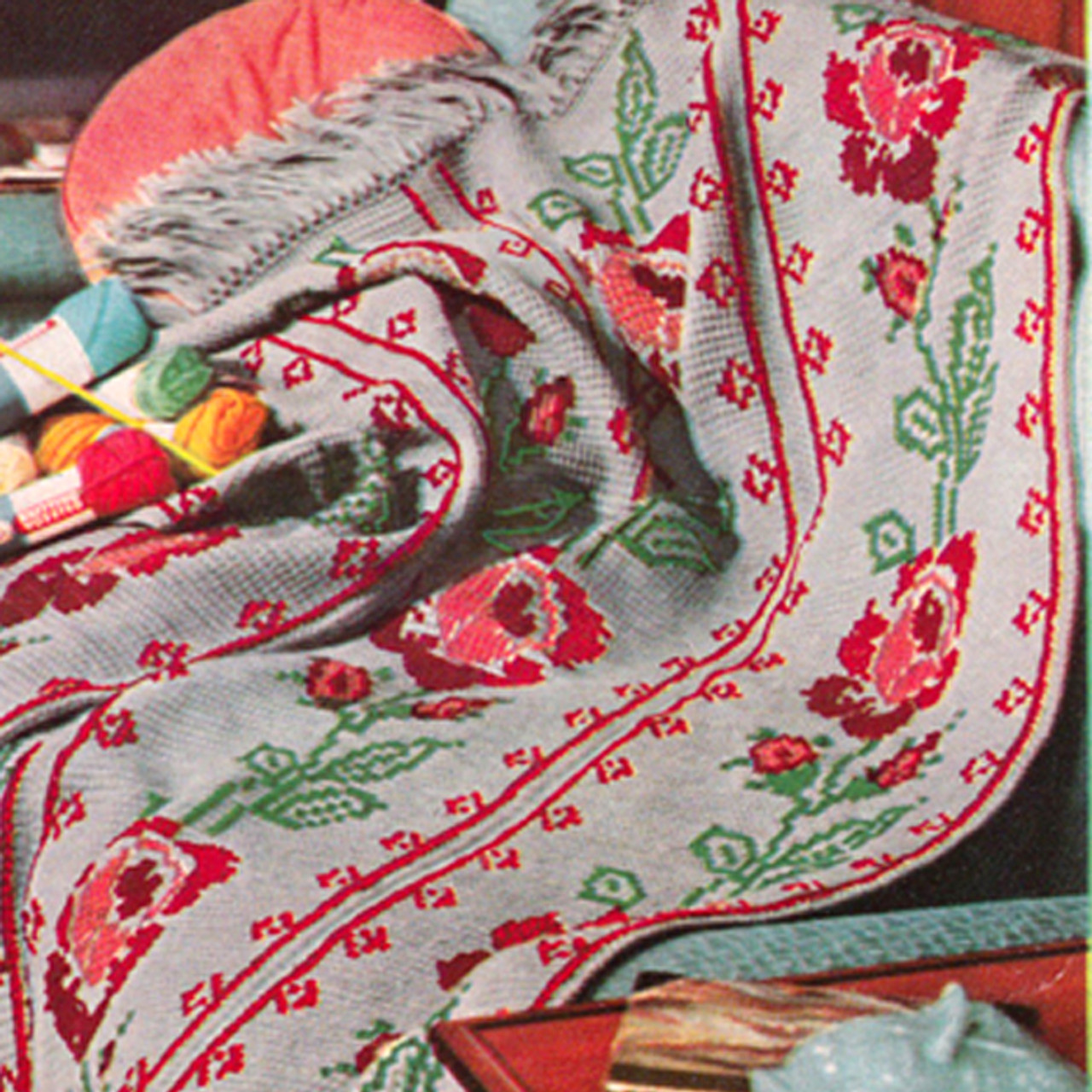 Vintage Rose Heirloom Crochet Afghan with Embroidery