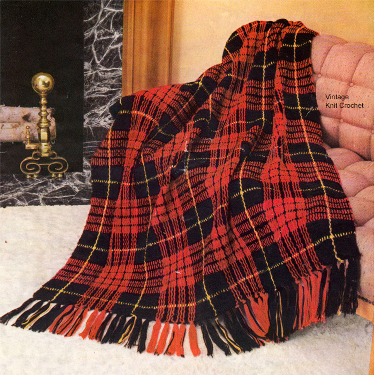 Plaid Crochet Afghan Pattern in Knitting Worsted