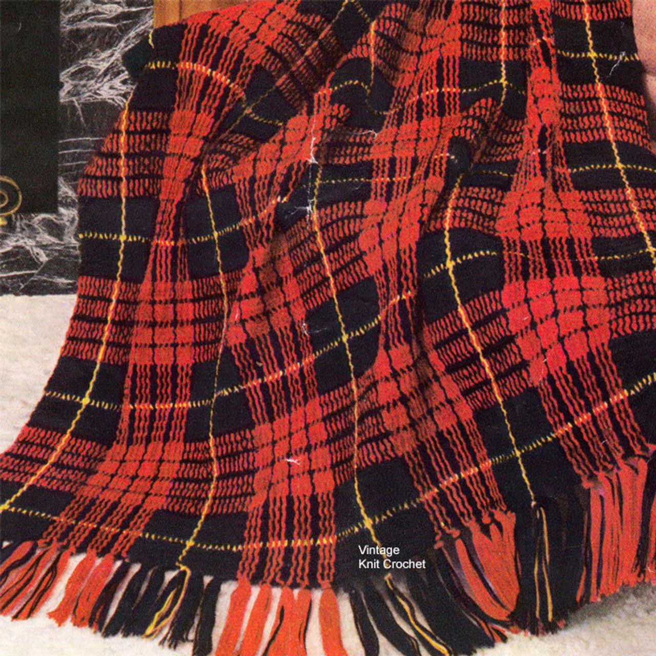 Masculine Tartan Plaid Afghan Crochet Pattern C-126