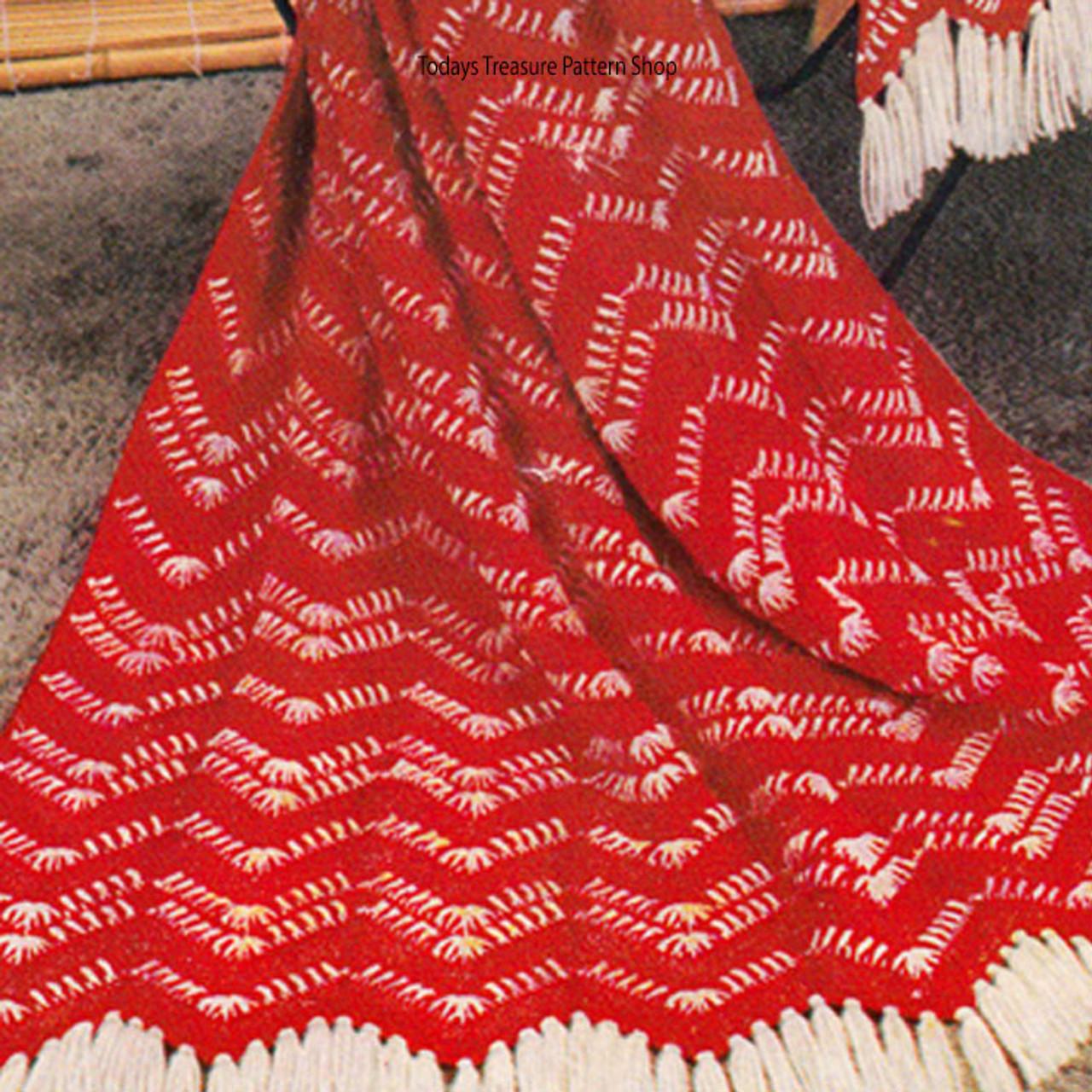 Red White Afghan Crochet Pattern