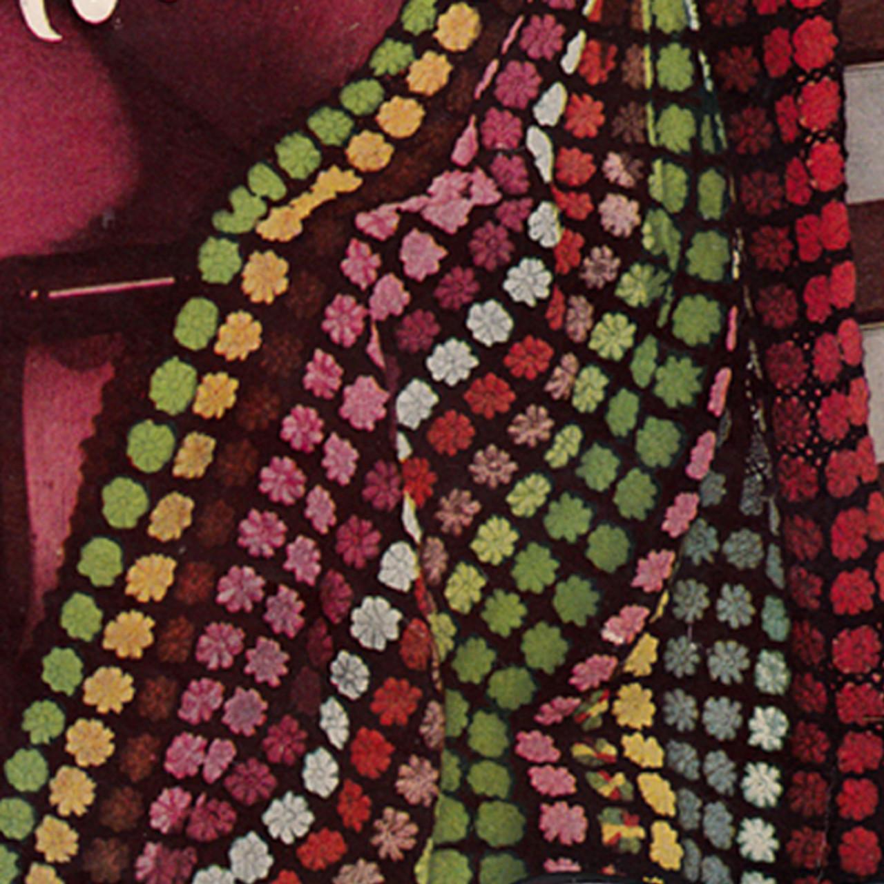 Flower Panel Striped Crochet Afghan Pattern