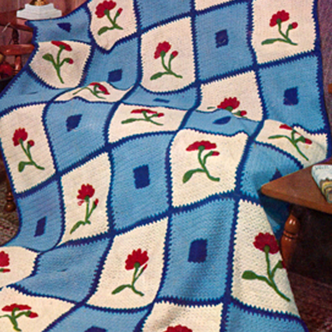 Crochet Block Afghan Pattern with Flower Embroidery