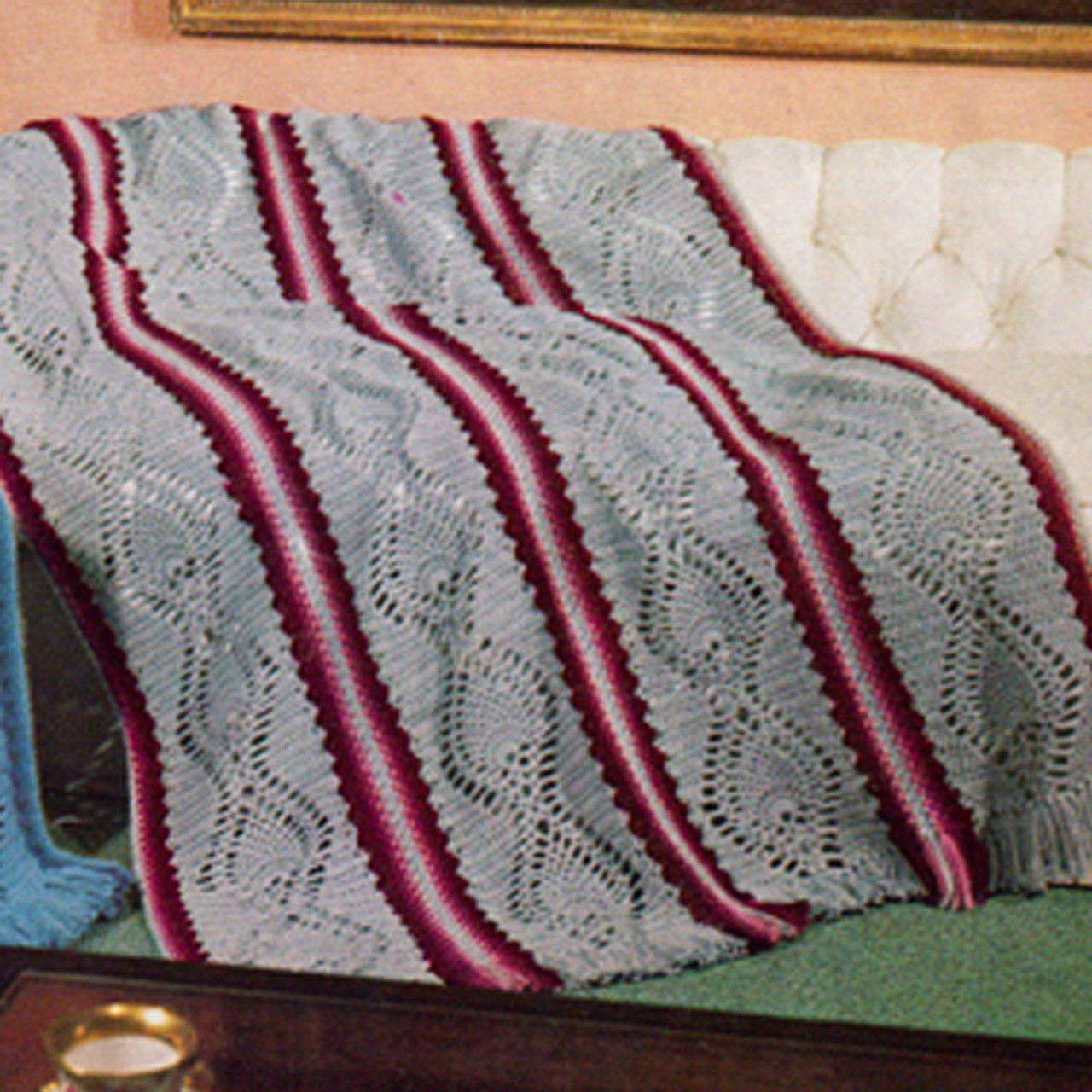 Grey Stripe Crochet Panel Afghan Pattern