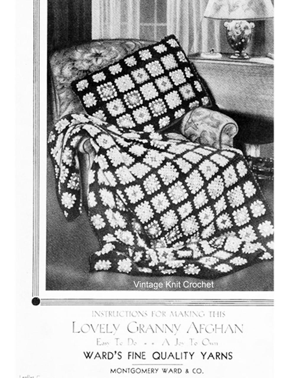 Vintage Crochet Granny Afghan Pattern, Montgomery Wards Leaflet C