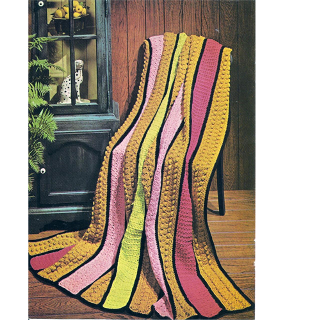Vintage Crochet Afghan Pattern, colorful Stripes in popcorn stitch