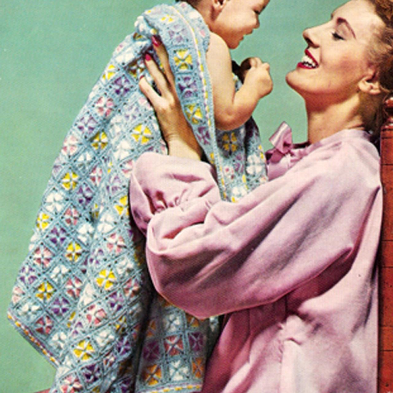 Vintage Crochet Baby Blanket Afghan, Lollipop Pattern
