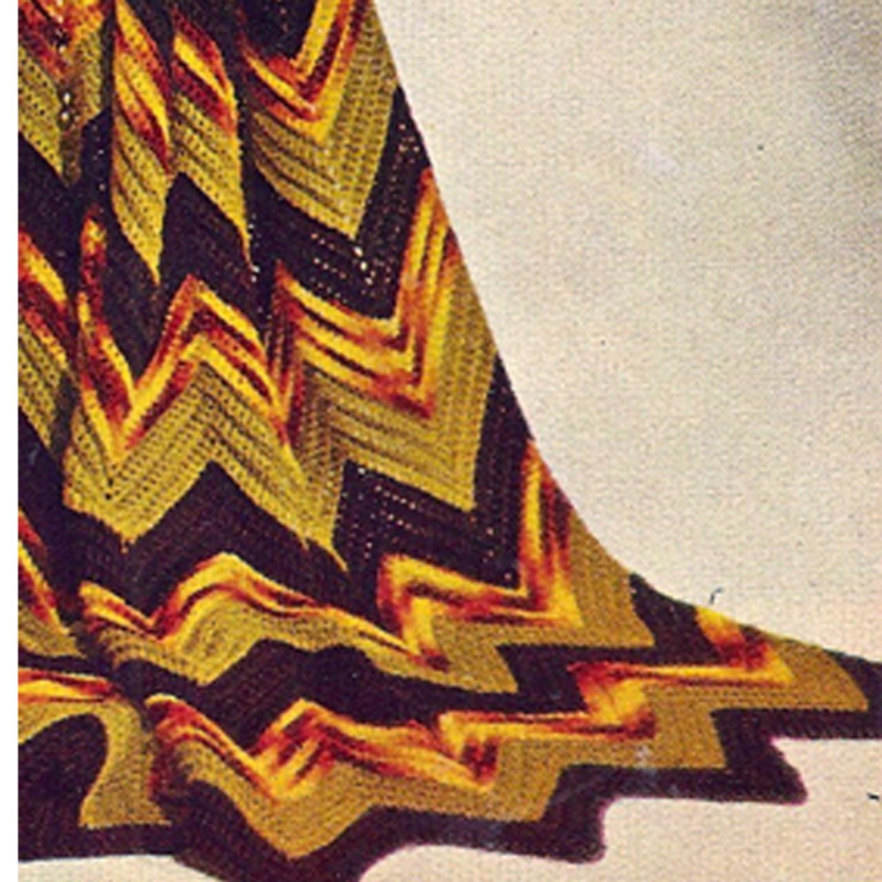 Vintage Tri Color Ripple Crochet Afghan Pattern