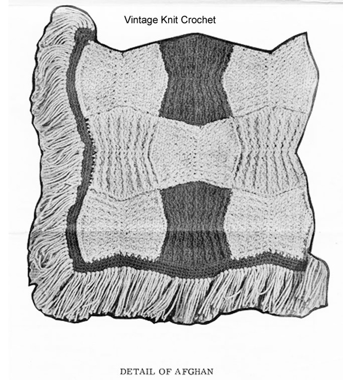 Crochet dogbone pattern illustration for Afghan Design 7123